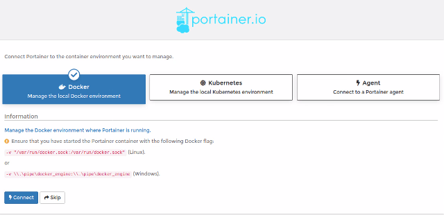Portainer.io Manage local Docker environment