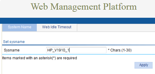 HP v1910 - Web Management System Name