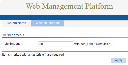 HP v1910 - Web Management Web idle Timeout
