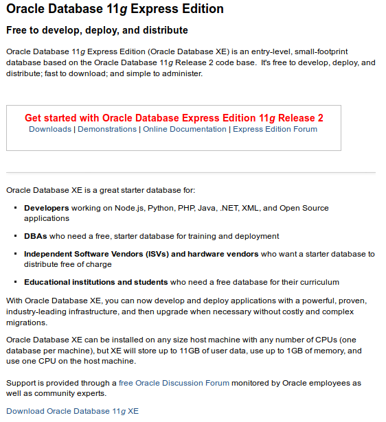 Oracle Express Edition 11g