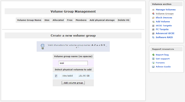 Openfiler - Volume Group Management