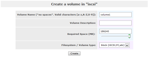 Openfiler - Create a volume in [iscsi]