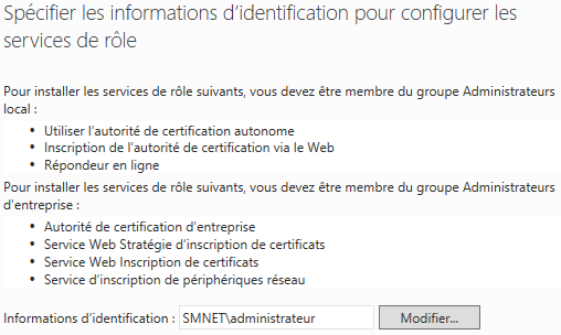 Informations d'identification