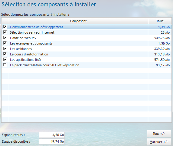 Installation de WebDev 19 - Composants à installer