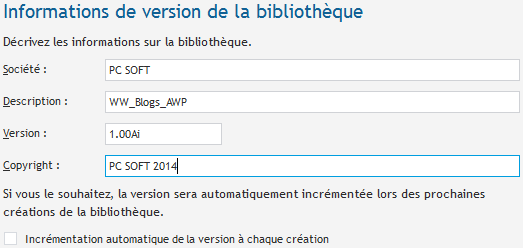 Informations de version de la bibliothèque