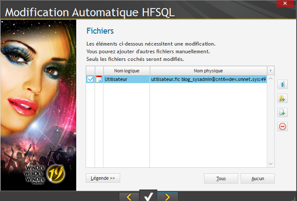 Modification automatique HFSQL 3